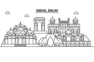 India, Delhi architecture line skyline illustration. Linear vector cityscape with famous landmarks, city sights, design icons. Landscape wtih editable strokes