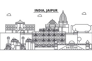 India, Jaipur architecture line skyline illustration. Linear vector cityscape with famous landmarks, city sights, design icons. Landscape wtih editable strokes