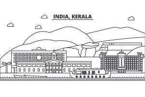 India, Kerala architecture line skyline illustration. Linear vector cityscape with famous landmarks, city sights, design icons. Landscape wtih editable strokes