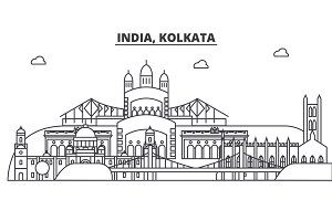 India, Kolkata architecture line skyline illustration. Linear vector cityscape with famous landmarks, city sights, design icons. Landscape wtih editable strokes
