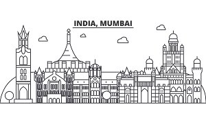 India, Mumbai architecture line skyline illustration. Linear vector cityscape with famous landmarks, city sights, design icons. Landscape wtih editable strokes