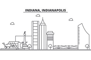Indiana, Indianapolis  architecture line skyline illustration. Linear vector cityscape with famous landmarks, city sights, design icons. Landscape wtih editable strokes