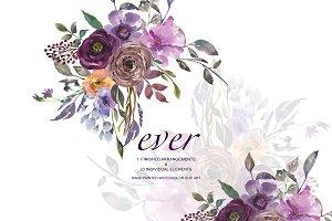 Watercolor Violet FloralClipart