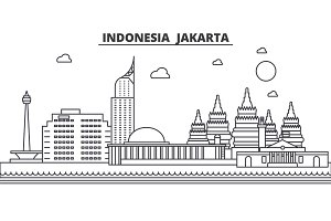 Indonesia, Jakarta architecture line skyline illustration. Linear vector cityscape with famous landmarks, city sights, design icons. Landscape wtih editable strokes