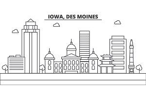 Iowa, Des Moines architecture line skyline illustration. Linear vector cityscape with famous landmarks, city sights, design icons. Landscape wtih editable strokes