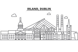 Irland, Dublin architecture line skyline illustration. Linear vector cityscape with famous landmarks, city sights, design icons. Landscape wtih editable strokes