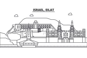 Israel, Eilat architecture line skyline illustration. Linear vector cityscape with famous landmarks, city sights, design icons. Landscape wtih editable strokes