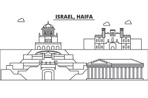 Israel, Haifa architecture line skyline illustration. Linear vector cityscape with famous landmarks, city sights, design icons. Landscape wtih editable strokes