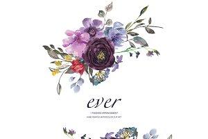 Plum & Burgundy Floral Clip Art