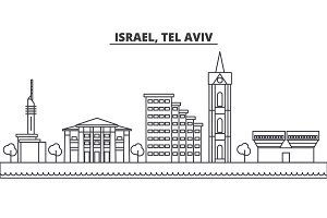 Istael, Tel Aviv architecture line skyline illustration. Linear vector cityscape with famous landmarks, city sights, design icons. Landscape wtih editable strokes