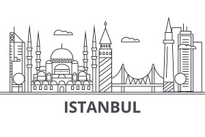 Istanbul architecture line skyline illustration. Linear vector cityscape with famous landmarks, city sights, design icons. Landscape wtih editable strokes