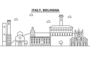Italy, Bologna architecture line skyline illustration. Linear vector cityscape with famous landmarks, city sights, design icons. Landscape wtih editable strokes