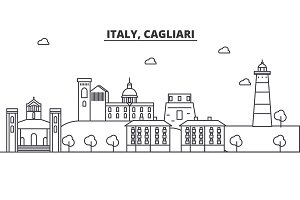 Italy, Cagliari architecture line skyline illustration. Linear vector cityscape with famous landmarks, city sights, design icons. Landscape wtih editable strokes