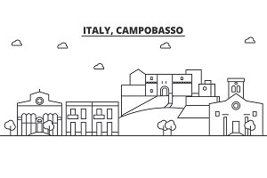 Italy, Campobasso architecture line skyline illustration. Linear vector cityscape with famous landmarks, city sights, design icons. Landscape wtih editable strokes