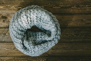 Round warm knitted scarf