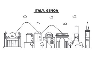 Italy, Genoa architecture line skyline illustration. Linear vector cityscape with famous landmarks, city sights, design icons. Landscape wtih editable strokes