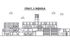 Italy, L aquila architecture line skyline illustration. Linear vector cityscape with famous landmarks, city sights, design icons. Landscape wtih editable strokes