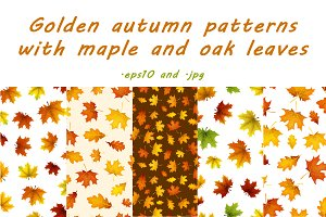 Golden autumn patterns set