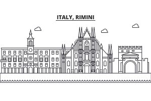 Italy, Rimini architecture line skyline illustration. Linear vector cityscape with famous landmarks, city sights, design icons. Landscape wtih editable strokes