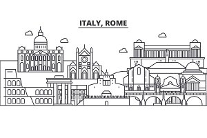 Italy, Rome architecture line skyline illustration. Linear vector cityscape with famous landmarks, city sights, design icons. Landscape wtih editable strokes