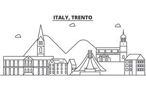 Italy, Trento architecture line skyline illustration. Linear vector cityscape with famous landmarks, city sights, design icons. Landscape wtih editable strokes