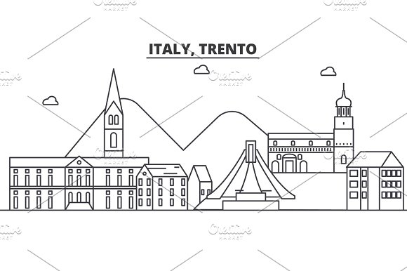Italy Trento Architecture Line Skyline Illustration Linear Vector Cityscape With Famous Landmarks City Sights Design Icons Landscape Wtih Editable Strokes