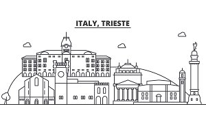 Italy, Trieste architecture line skyline illustration. Linear vector cityscape with famous landmarks, city sights, design icons. Landscape wtih editable strokes