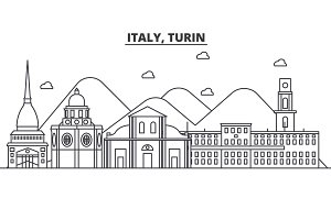 Italy, Turin architecture line skyline illustration. Linear vector cityscape with famous landmarks, city sights, design icons. Landscape wtih editable strokes