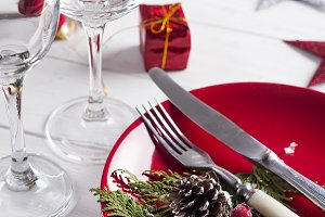 Romantic red Christmas table setting