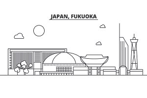 Japan, Fukuoka architecture line skyline illustration. Linear vector cityscape with famous landmarks, city sights, design icons. Landscape wtih editable strokes