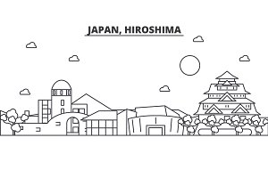Japan, Hiroshima architecture line skyline illustration. Linear vector cityscape with famous landmarks, city sights, design icons. Landscape wtih editable strokes