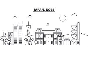 Japan, Kobe architecture line skyline illustration. Linear vector cityscape with famous landmarks, city sights, design icons. Landscape wtih editable strokes