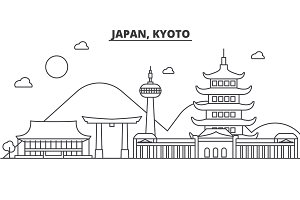 Japan, Kyoto architecture line skyline illustration. Linear vector cityscape with famous landmarks, city sights, design icons. Landscape wtih editable strokes