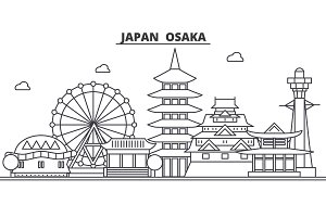 Japan, Osaka architecture line skyline illustration. Linear vector cityscape with famous landmarks, city sights, design icons. Landscape wtih editable strokes