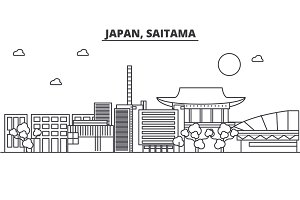 Japan, Saitama architecture line skyline illustration. Linear vector cityscape with famous landmarks, city sights, design icons. Landscape wtih editable strokes