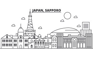 Japan, Sapporo architecture line skyline illustration. Linear vector cityscape with famous landmarks, city sights, design icons. Landscape wtih editable strokes