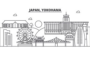 Japan, Yokohama architecture line skyline illustration. Linear vector cityscape with famous landmarks, city sights, design icons. Landscape wtih editable strokes