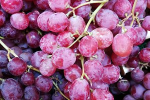 Red grapes at market