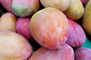 Ripe mangoes at market