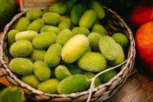 Green furry cucumber