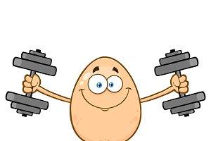 Smiling Egg With Dumbbells