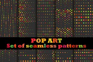 Pop Art set of seamless pattern