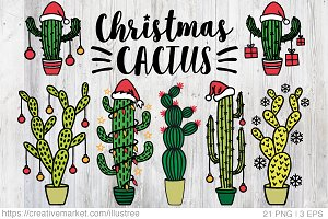 Cactus Christmas trees, vector set