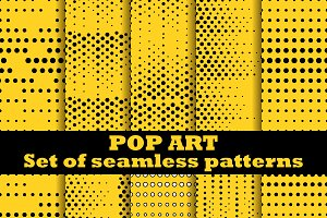 Pop Art set of seamless pattern