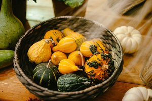 Little striped pumpkin basket