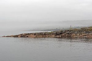 The shores of Lake Ladoga in a fog