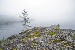 Fog over the Ladoga Lake.