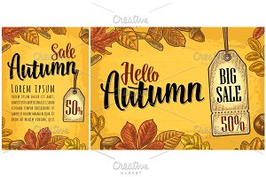 Poster AUTUMN lettering with set leaf and acorn. Vector engraving