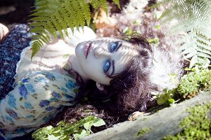 young beautiful girl, like a forest fairy. Natural beauty, natural style