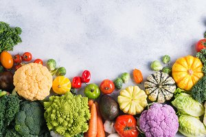 Top view rainbow vegetables, autumn